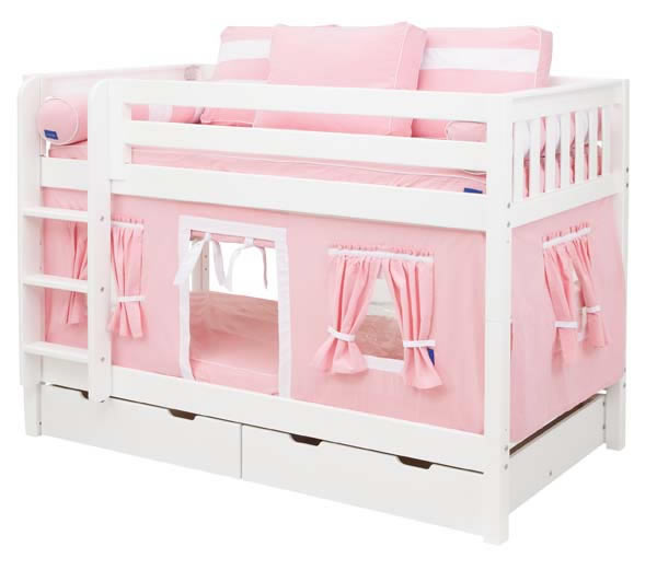 Pink And White Playhouse Bunk Bed In White By Maxtrix Kids