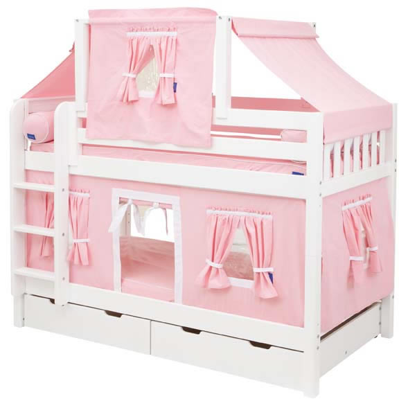 Pink And White Tent Bunk Bed In White By Maxtrix Kids 700 2