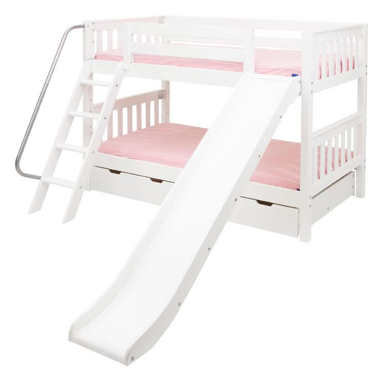 Maxtrix White Bunk Bed W Slide