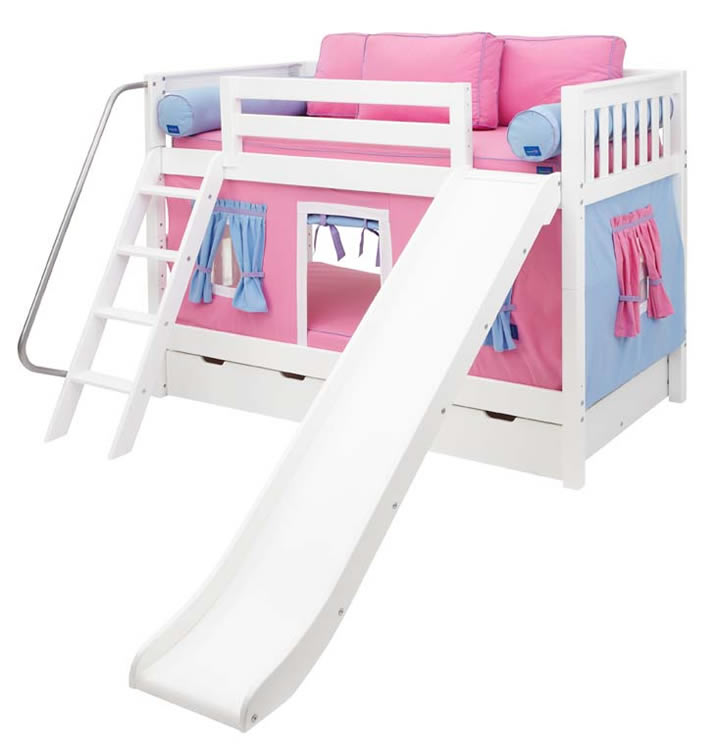 Pink And Blue Maxtrix Playhouse Bunk Bed In White W Slide 720 1s