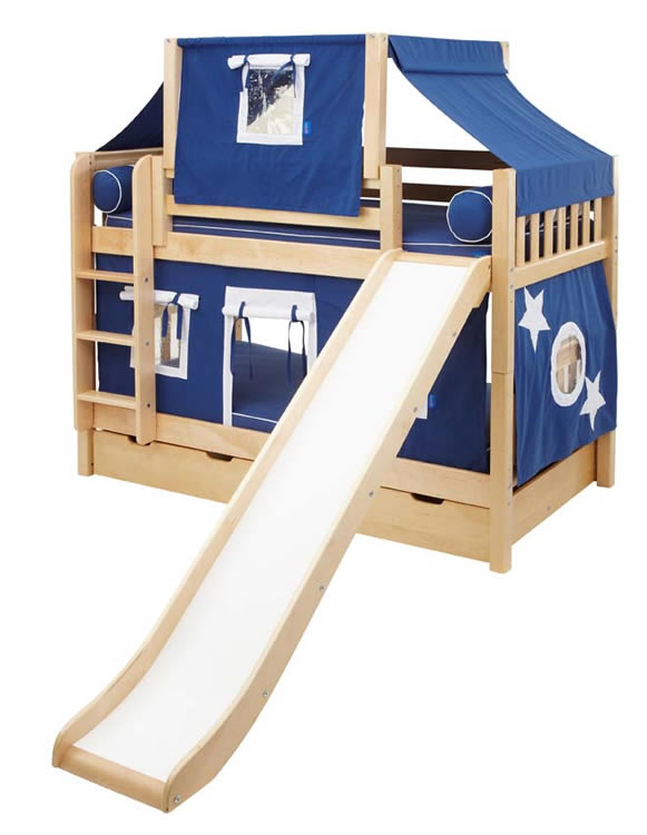 Maxtrix Playhouse Tent Bunk Bed w/ slide (blue/white on natural) (720 ...