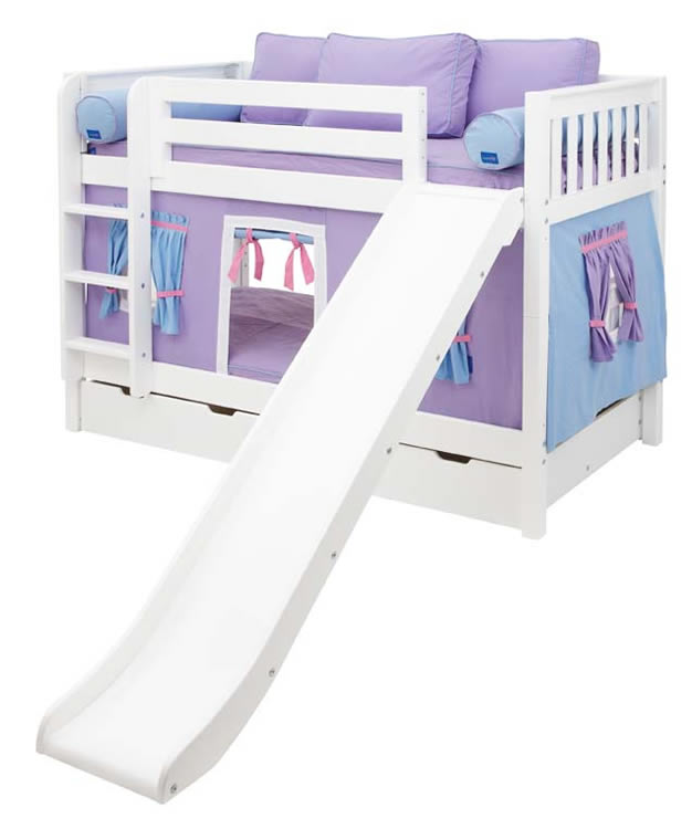 Purple And Blue Maxtrix Playhouse Tent Bunk Bed In White W Slide 720 1s
