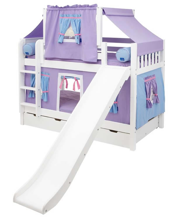Maxtrix Playhouse Tent Bunk Bed w/ slide (purple/blue on white) (  sc 1 st  Sweet Retreat Kids : castle tent bed - memphite.com