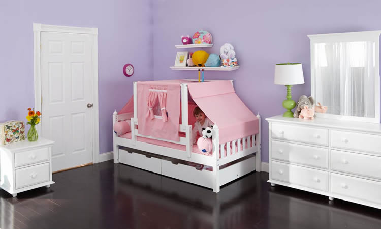 YO 23 Girls Playhouse Bed W Toddler Safety Rail By
