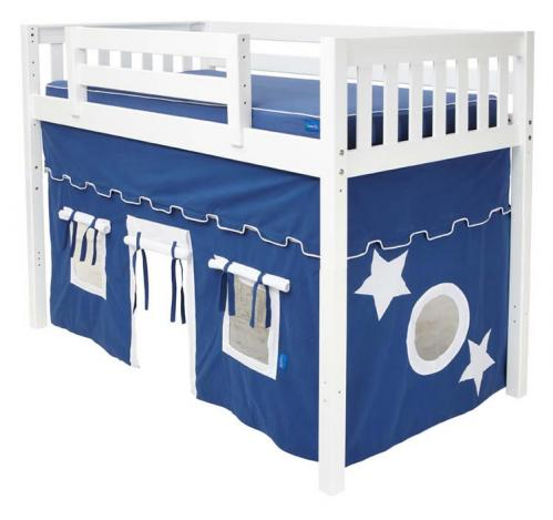 White Tent MID Loft Bed by Maxtrix Kids (blue/white on white) (400.1)