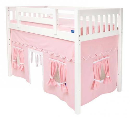 Girl's MID Loft Bed and Tent by Maxtrix Kids (pink/white on white) (400.1)