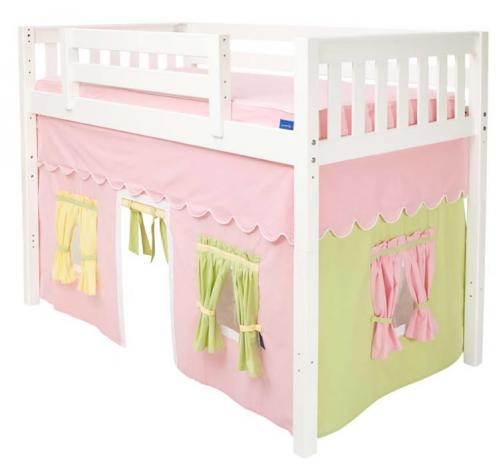 Girl's Tent MID Loft Bed by Maxtrix Kids (pink/green/yellow on white) (400.1)