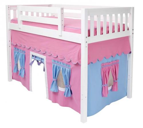 Girl's Play Tent MID Loft Bed by Maxtrix Kids (pink/blue on white) (400.1)