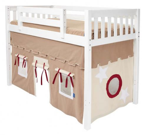 Play Fort Mid Loft Bed By Maxtrix Kids Khaki Red On White