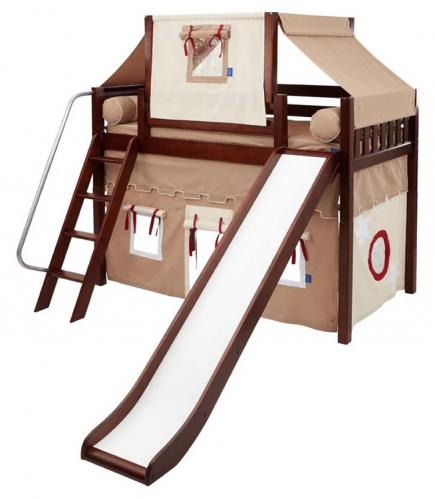 2-Story Mid Loft Bed w/ Play Tent & Slide by Maxtrix Kids (khaki/red on chestnut) (420.2)