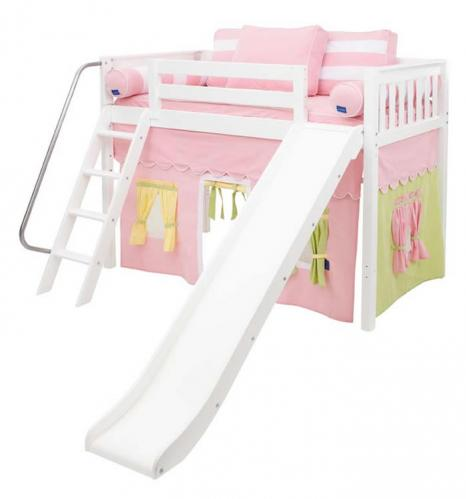 White MID Loft Bed w/ Slide by Maxtrix Kids (pink/yellow/green on white) (420.1)