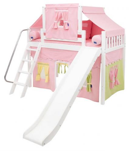 2-Story Playhouse MID Loft Bed w/ Slide by Maxtrix Kids (pink/green/yellow on white) (420.2)