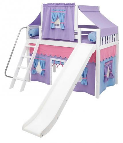 2-Story Playhouse MID Loft Bed w/ Slide by Maxtrix Kids (purple/blue on white) (420.2)