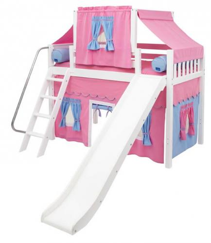 2-Story Playhouse MID Loft Bed w/ Slide by Maxtrix Kids (hot pink/blue on white) (420.2)