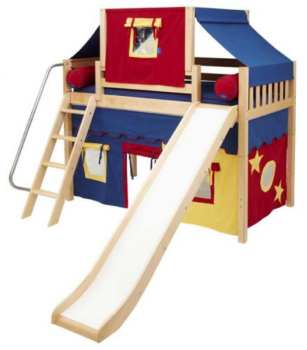 2-Story Play Fort Mid Loft Bed w/ Slide by Maxtrix Kids (blue/red/yellow on natural) (420.2)