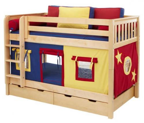Solid Wood Bunk Bed by Maxtrix Kids (blue, red, yellow on natural wood) (700.1)