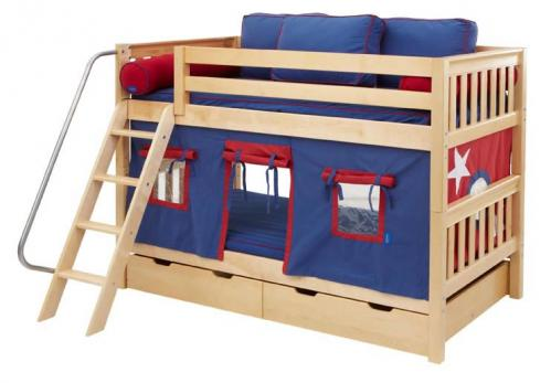 Hot Hot Tent Bunk Bed by Maxtrix Kids (blue, red tent) (700.1)