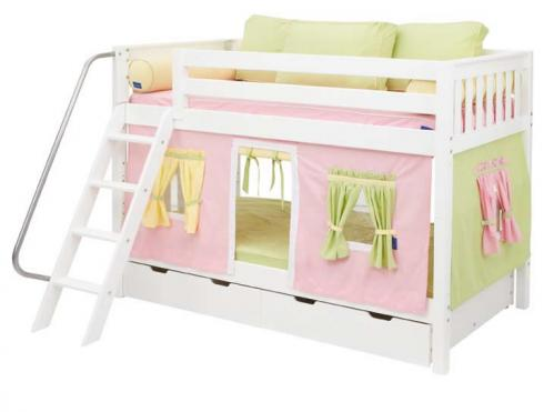 White Hot Hot Bunk Bed by Maxtrix Kids (pink/yellow/green playhouse) (700.1)