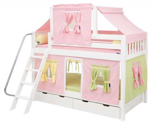 Pink, Green and Yellow Tent Bunk Bed in White by Maxtrix Kids (700.2)