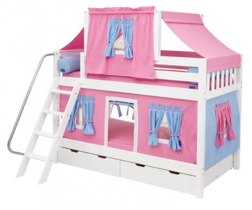 Hot Pink and Blue Tent Bunk Bed in White by Maxtrix Kids (700.2)