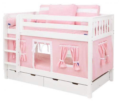 Pink and White Playhouse Bunk Bed in White by Maxtrix Kids (700.1)