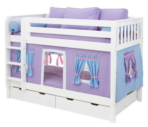 Purple Playhouse Bunk Bed in White by Maxtrix Kids (700.1)