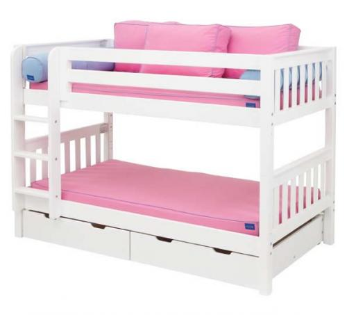 Hot Shot Low Bunk Bed by Maxtrix Kids: White, Slats, Twin