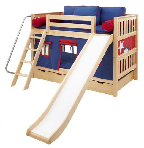 Red and Blue Maxtrix Playhouse Bunk Bed in Natural w/ Slide (720.1)