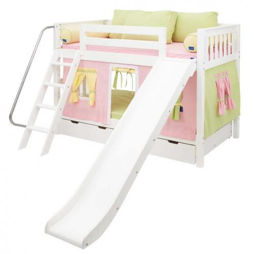 Pink and Green Maxtrix Playhouse Bunk Bed in White w/ Slide (720.1)