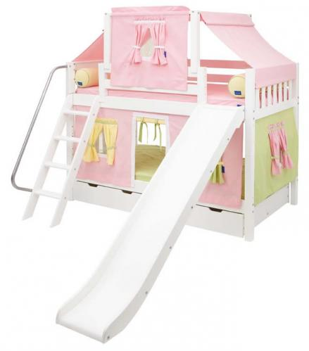 Maxtrix Playhouse Tent Bunk Bed w/ slide (pink/yellow/green on white) (720.2)