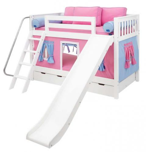 Pink and Blue Maxtrix Playhouse Bunk Bed in White w/ Slide (720.1)