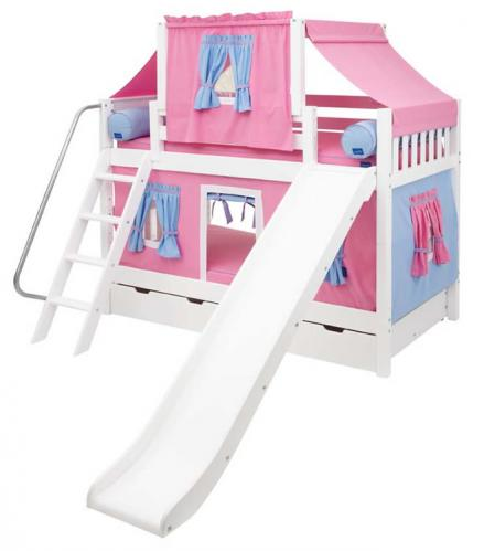 Maxtrix Playhouse Tent Bunk Bed w/ slide (hot pink/blue on white) (720.2)