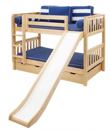 Smile Low Bunk Bed by Maxtrix Kids: Natural, Slats, Twin, Slide