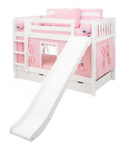 Pink and White Maxtrix Playhouse Bunk Bed in White w/ Slide (720.1)