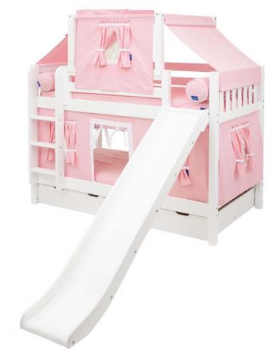 Maxtrix Playhouse Tent Bunk Bed w/ slide (pink/white on white) (720.2)