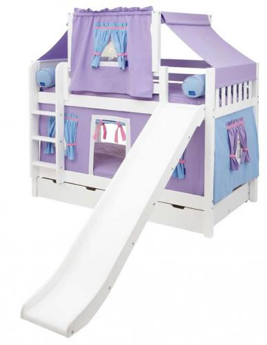 Maxtrix Playhouse Tent Bunk Bed w/ slide (purple/blue on white) (720.2)