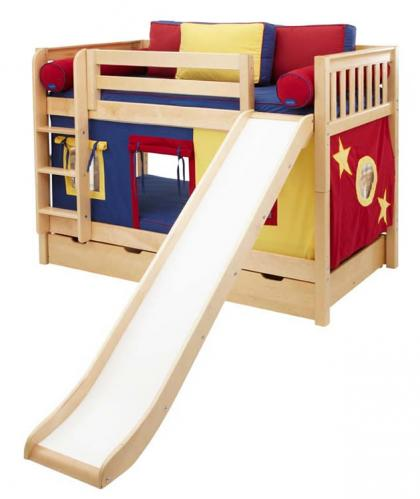 Red, Blue and Yellow Maxtrix Playhouse Bunk Bed in Natural w/ Slide (720.1)