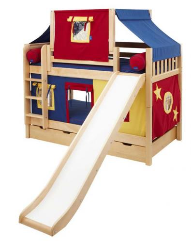 Maxtrix Playhouse Tent Bunk Bed w/ slide (slats) (red/blue/yellow on natural) (720.2)