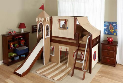 Boy's Castle Bed with Slide by Maxtrix Kids (khaki/red) (370)