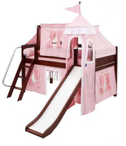 Princess Castle Bed with Slide by Maxtrix Kids (pink/white) (370)