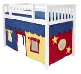 Boys MID Loft Bed and Tent by Maxtrix Kids (blue/red/yellow on white) (400.1)