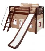 Play Fort MID Loft Bed w/ Slide by Maxtrix Kids (khaki/red on chestnut) (420.1)