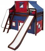 2-Story Play Tent Mid Loft Bed w/ Slide by Maxtrix Kids (blue/red on chestnut) (420.2)