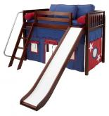 Play Fort MID Loft Bed w/ Slide by Maxtrix Kids (blue/red on chestnut) (420.1s