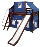 2-Story Mid Loft Bed w/ Play Tent & Slide by Maxtrix Kids (blue/white on chestnut) (420.2)