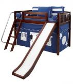 Play Fort MID Loft Bed w/ Slide by Maxtrix Kids (blue/white on chestnut) (420.1)
