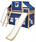2-Story Play Fort Mid Loft Bed w/ Slide by Maxtrix Kids (blue/white on natural) (420.2)