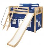 Play Fort MID Loft w/ Slide by Maxtrix Kids (blue/white on natural) (420.1)