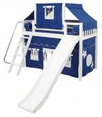 2-Story Playhouse MID Loft Bed w/ Slide by Maxtrix Kids (blue/white on white) (420.2)