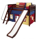 Play Fort MID Loft Bed w/ Slide by Maxtrix Kids (blue/red/yellow on chestnut) (420.1)
